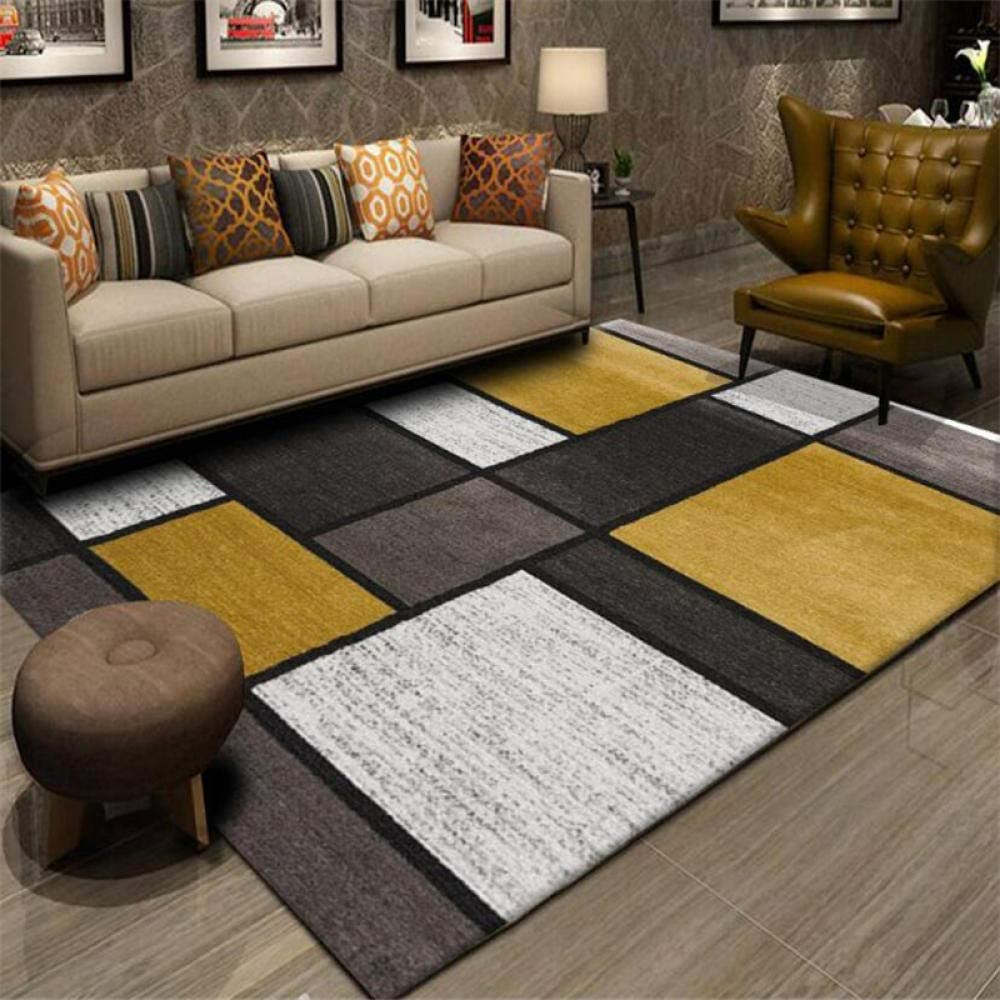 Yxishome Large Area Rug Living Room Bedroom Rugs Fashion Geometry Mustard Yellow Grey White Patchwork Carpet Rug Soft Touch Designer Carpet Home Floor Mats 140x200cm Amazon Co Uk Kitchen Home
