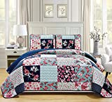 Linen Plus Twin/Twin Extra Long 2pc Quilted Bedspread Set Oversized Coverlet Floral Butterfly Patchwork Navy Blue Teal Coral Pink Burgundy New