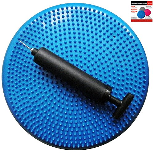 AppleRound Air Stability Wobble Cushion, Blue, 35cm/14in Diameter, Balance Disc, Pump Included