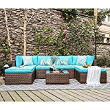 OC Orange-Casual 7 Pieces Outdoor Patio Furniture Set All Weather Wicker Sectional Sofa Couch Chair & Ottoman with Glass Top Coffee Table & Seat Cushion