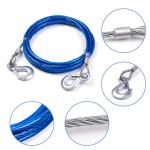 Syga 4 m 5 Tons Steel Wire Tow Cable Rope with Hooks for Cars (Blue)