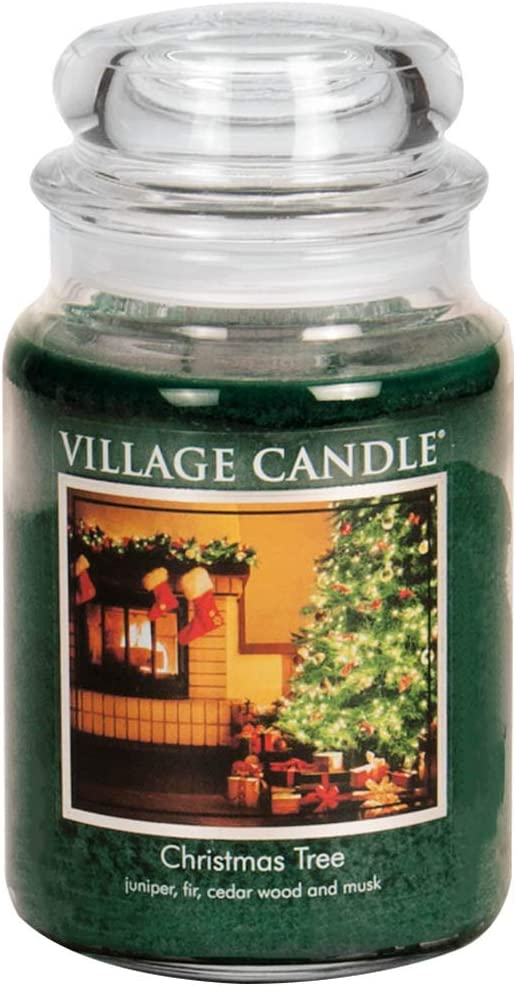 Amazon Com Village Candle Christmas Tree 26 Oz Glass Jar Scented Candle Large Home Kitchen