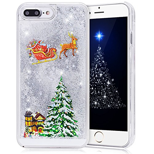 iPhone 7 Plus Case 5.5 inch, CinoCase 3D Creative Liquid Case [Christmas Collection] Quicksand Moving Stars Bling Glitter Snowflake Christmas Tree Santa Claus Pattern Hard PC Case for iPhone 7 Plus