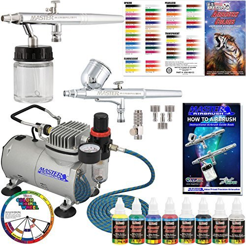 Master-Airbrush-Cool-Runner-II-Dual-Fan-Air-Compressor-Airbrushing-Acrylic-Paint-System-Kit-with-2-Professional-Airbrushes-Hose-6-Primary-Acrylic-Paint-Colors-Artist-Set-How-To-Guide-Color-Chart