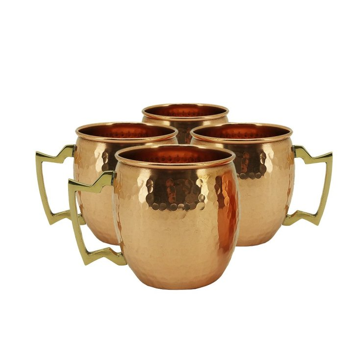 Hammered Copper Moscow Mule Mug with Brass Handle