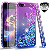 iPhone 5S Case, iPhone SE Case with [2 Pack] Tempered Glass Screen Protector for Girls Women, LeYi Glitter Bling Liquid Quicksand TPU Protective Phone Case for iPhone 5 5S SE ZX Gradient Purple/Blue