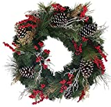The Wreath Depot Somerset Winter Red Berry Wreath, 22 Inch