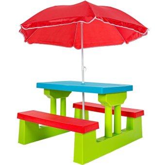 TecTake Kindersitzgruppe für bis zu 4 Kinder inkl. Sonnenschirm 2 Bänke + Tisch von TecTake