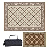 Reversible Mats 119127 Outdoor Patio 9-Feet x 12-Feet, Brown/Beige RV Camping Mat (Renewed)