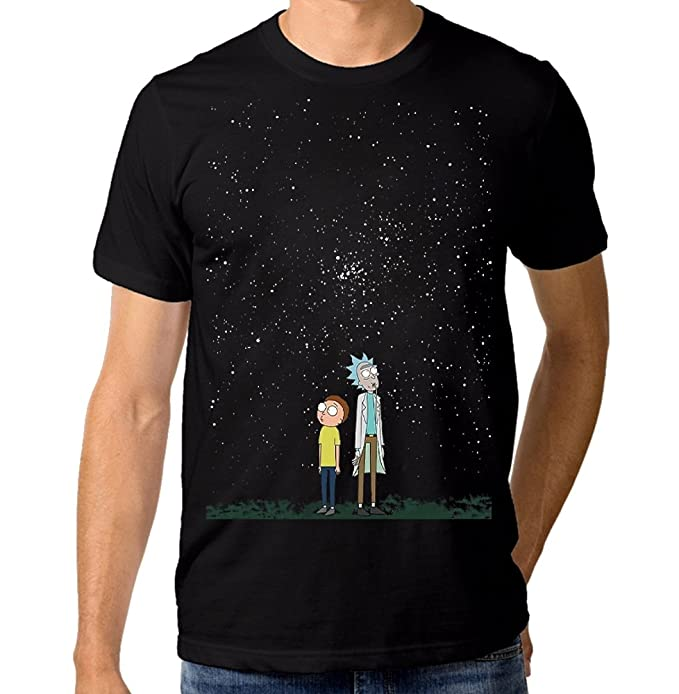 Rick and Morty Starry Night T-Shirt, Rick Sanchez Men's Women's Tee, (XL - Male)