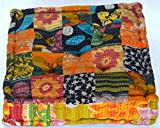 Product review for RANGILA Stuffed Indian Vintage Kantha Patch Floor Cushion; Pouf Ottoman; Floor Pillow Yoga Pillow