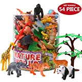 Animals Figure,54 Piece Mini Jungle Animals Toys Set With Gift Box,ValeforToy Realistic Wild Animal Learning Resource Party Favors Toys For Boys Kids Toddlers Forest Small Farm Animals Toys Playset
