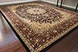 Dunes Traditional Isfahan High Density 1' Thick Wool 1.5 Million Point Persian Area Rug, 9 x 12, Black