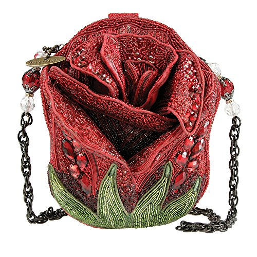 """Roses are red and our 'Rose Bud' handbag is no exception. This hand crafted masterpiece makes a bold and beautiful addition to any outfit. W x D x H: 6.5 x 3 x 7"""" Removable Chain Woven Strap Length End to End: 29"""" Drop Length: 13"""""""
