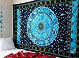 Jaipur Handloom Blue Zodiac Tapestry Horoscope Tapestry Indian Astrology Hippie Tapestry Wall Hanging Dorm Decor Psychedelic Tapestry Bohemian Bedspread Bed Cover Bedding Beach Blanket