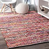 nuLOOM Handwoven Boho Rochell Colorful Area Rug, 3' x 5', Magenta