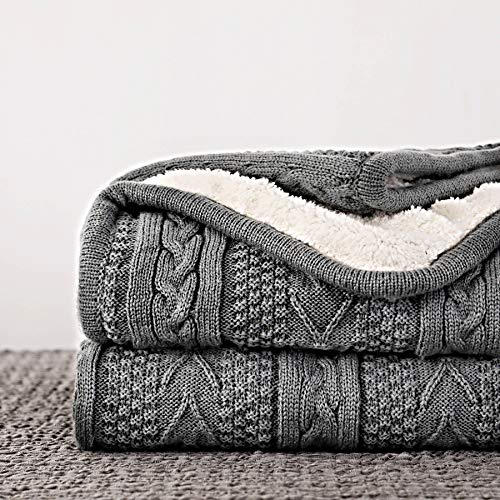 Longhui bedding Acrylic Cable Knit Sherpa Throw Blanket – Thick, Soft, Big, Cozy Grey Knitted Fleece Blankets for Couch…