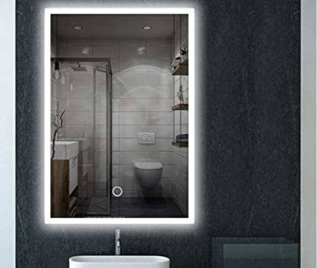 Feelglad  Inch Led Lighted Bathroom Mirror Wall Mounted Dimmable Touch Switch Illuminated