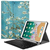 Fintie Keyboard Case with Built-in Apple Pencil Holder for iPad Air 2019 3rd Gen/iPad Pro 10.5' 2017- SlimShell Stand Cover w/Magnetically Detachable Wireless Bluetooth Keyboard, Blossom