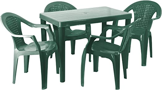 Plastic Garden Table Chairs Set 4 Seat Green Table 60cm W X 100cm L X Cm H 4 Chairs Quick Simple Assembly Amazon Co Uk Garden Outdoors