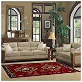 Superior Santa Fe Collection 8' x 10' Area Rug, Attractive Rug with Jute Backing, Durable and Beautiful Woven Structure, Bright and Bold Southwest Style - Red