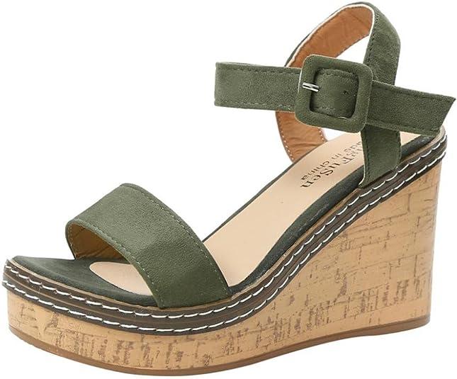 Sandalias de Vestir de Mujer Plataforma Terciopelo Sandalias de Cuña Zapatos de tacón Clásicos de Boca de Pescado Fiesta Hebilla