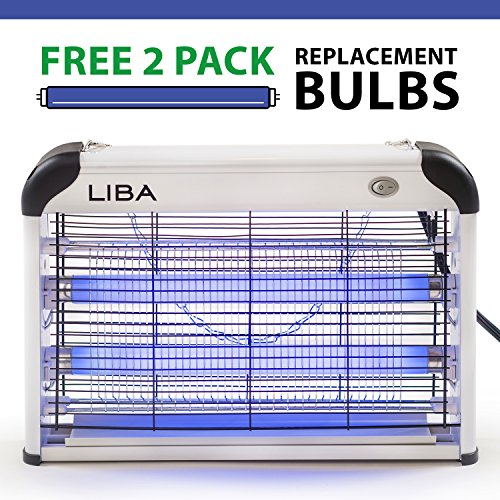 LiBa Bug Zapper & Electric Indoor Insect Killer Mosquito, Bug, Fly & Other Pests Killer – Powerful 2800V Grid 20W Bulbs – Free 2-Pack Replacement Bulbs Included - Indoor Use Only