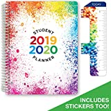 """Dated Elementary Student Planner for Academic Year 2019-2020 (Block Style - 8.5""""x11"""" - Paint Splatter Cover) - Bonus Ruler/Bookmark and Planning Stickers"""