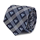 Superman Shield Navy Plaid Mens Tie