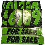 Vinyl Number & For Sale Decals 13 Dozen Car Lot Windshield Pricing Stickers (Black & Green)