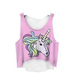 The Christmas Outfit Women's Crop Tom Vest Tank Top Party Holiday One Size Fits S / M / L Pink Unicorn