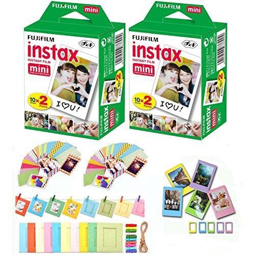 Fuji Instax Mini Instant Film 40 Shots with Bonus 20 Decorative Skin Stick-on Stickers for Fuji Instax Mini 8 and SP-1