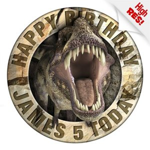 Jurassic Dinosaur T-Rex Cake Topper 7.5 Inch Personalised Edible on Icing Sheet with HI-RES Image 615l6d8IOvL