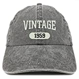 Trendy Apparel Shop Vintage 1959 Embroidered 60th Birthday Soft Crown Washed Cotton Cap - Black