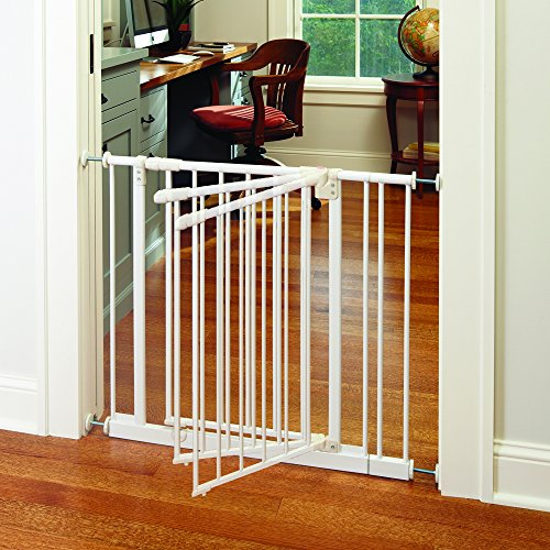 """Easy-Close Gate"" by North States: The multidirectional swing gate with triple locking system - Ideal for doorways/between rooms. Pressure mount, fits openings 28"" to 38.5"" wide (29"" tall, Soft white)"