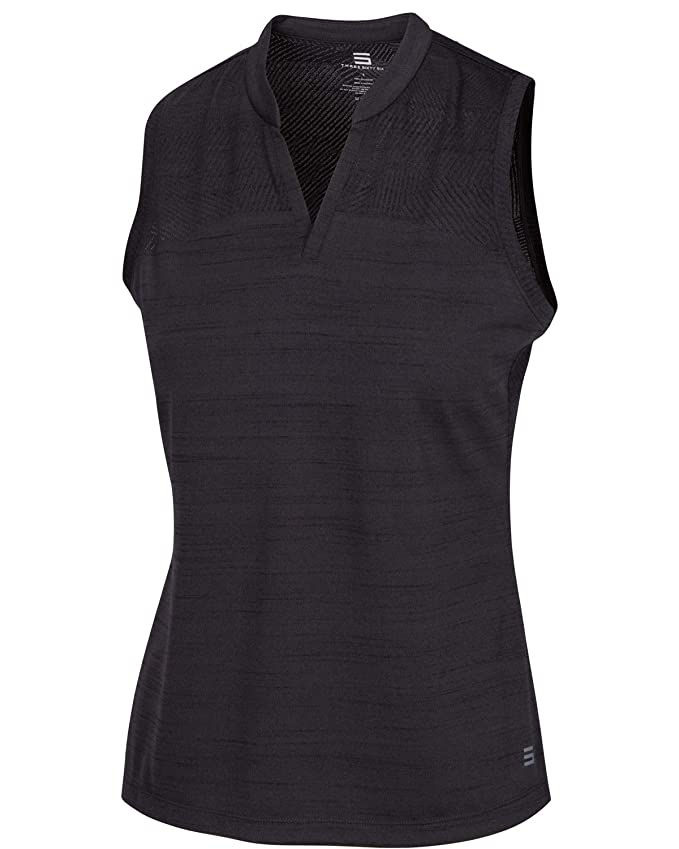 Three Sixty Six Women's Sleeveless Collarless Golf Polo Shirt - Dry Fit, Breathable, Compression Golf Tops Black Onyx