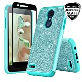 TJS LG K10 2018/K30/Premier Pro LTE/Harmony 2/Phoenix Plus Case, with [Tempered Glass Screen Protector] Glitter Bling Girls Women Design Dual Layer Heavy Duty Hybrid Case (Teal)