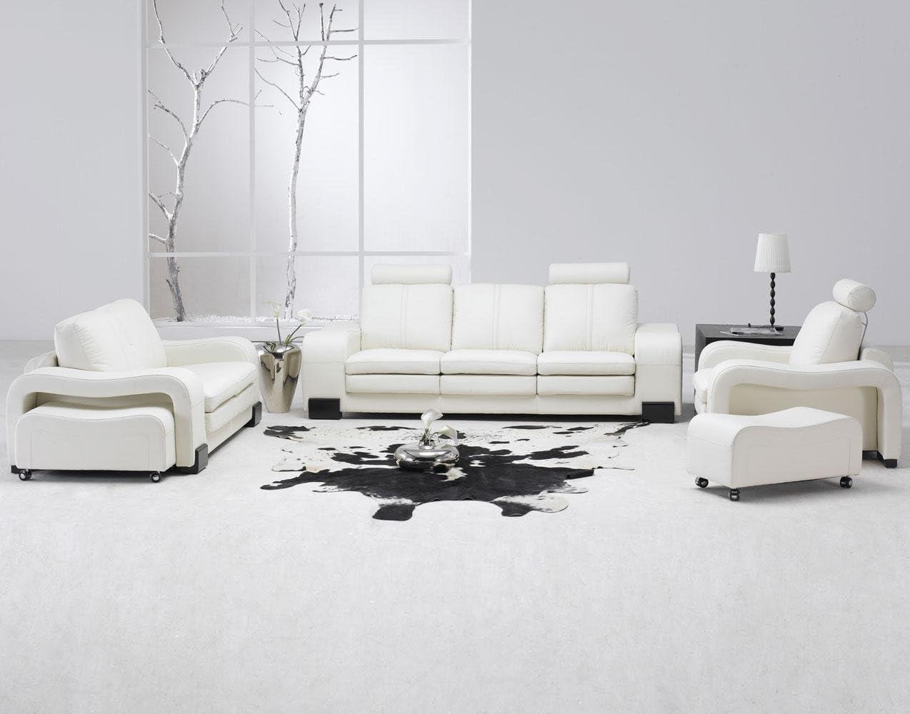 Amazon Com Modern 5 Pcs White Leather Living Room Set Furniture Decor