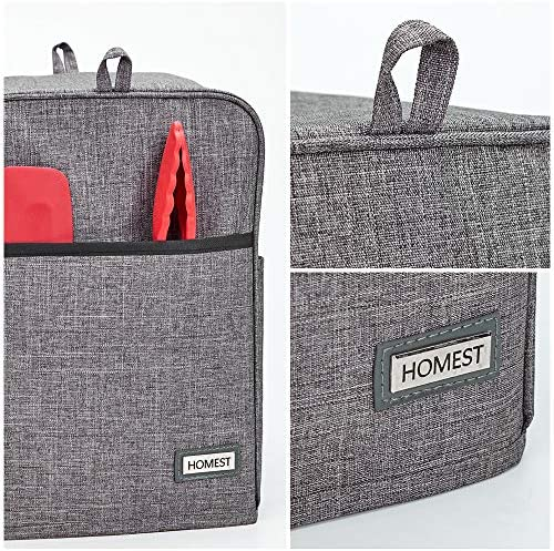 HOMEST Dust Cover Compatible with Keurig Coffee Maker, Single Serve Coffee Makers Cover with Storage Pockets for K Cup, Grey