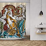 MuaToo Decorative Shower Curtain Dragon and Tiger with Waterfall Clouds Pattern Print, Easy Care Polyester Fabric Shower Curtain with Hooks, for Bathroom Showers, Stalls and Bathtubs - 72 x 72 inch