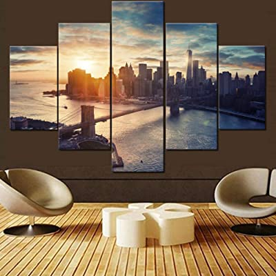 Buy House Decorations Living Room Brooklyn Bridge Paintings Manhattan Cityscape Pictures 5 Pcs Multi Panel Canvas Wall Art Contemporary Artwork Home Framed Ready To Hang Posters And Prints 60 Wx40 H Online In Indonesia B07k9pyqfw