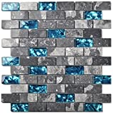 Ocean Teal Blue Glass Nature Stone Tile Kitchen Backsplash 3D Bath Shower Accent Wall Decor Gray Wave Marble 1 x 2 Subway Art Mosaics TSTNB03 (11 PCS [11.8'' X 11.8''/Each])