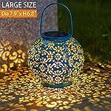 Solar Lantern Hanging Garden Outdoor Lights Metal Waterproof LED Table Lamp Decorative (Blue)