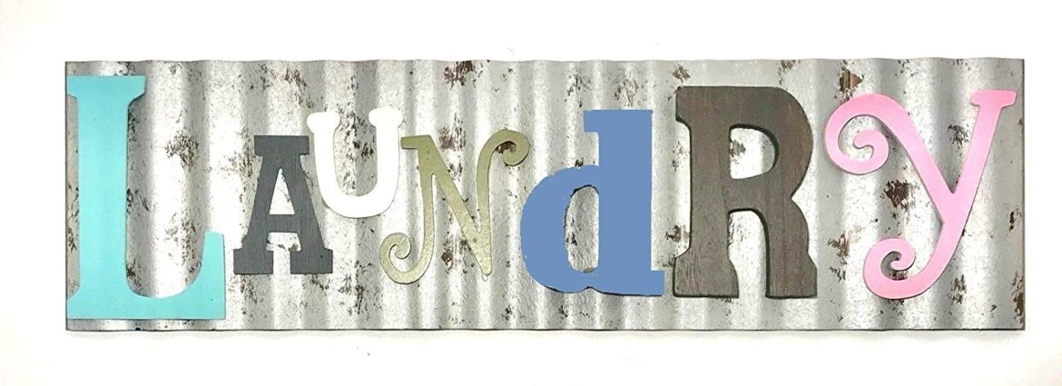 tin laundry sign