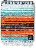 Mexican Blanket Yoga Serape Blankets - Mexican Blankets - Yoga Blanket - Authentic Baja Blanket - Yoga Blankets Mexican - Perfect as Beach Blanket Orange Colorful Camping Blanket (Mandarin)