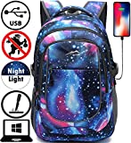 Backpack for School College Student Sturdy Bookbag Travel Business with USB Charging Port Laptop Compartment Chest Straps Anti Theft Night Light Reflective (Galaxy)