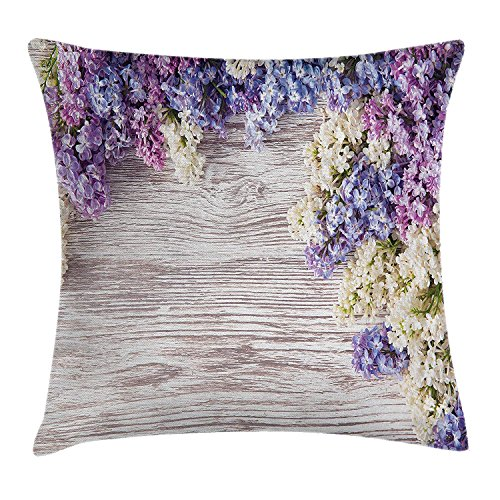 HONGZHESM Rustic Home Decor Throw Pillow Cushion Cover, Lilac Flowers Bouquet on Wood Table Spring Nature Romance Love Theme, Decorative Square Accent Pillow Case, 18x18 Inches, Violet Brown