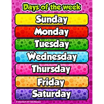 Amazon.com: Days of the Week Poster for Home and Classroom ...