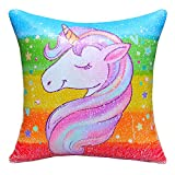 MHJY Unicorn Pillow Magic Reversible Sequins Pillow with Insert,16' X 16'Unicorn Sequin Throw Pillow for Home Decor