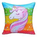 MHJY Unicorn Pillow Magic Reversible Sequins Pillow with Insert,16' X 16'Unicorn Sequin Throw Pillow for Home Decor